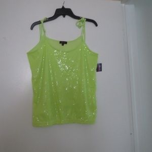 GLO SPAGHETTI STRAP TOP/BLOUSE/SEQUINS/GREEN/NEW